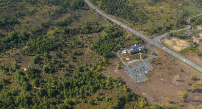 An aerial image of the Discovery Center and surrounding pine barrens.