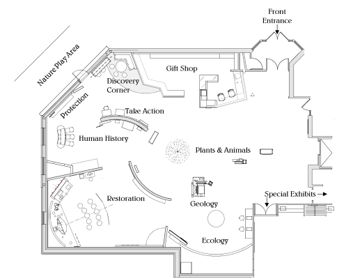 Exhibit map of the Discovery Center showing topic areas throughout the permanent exhibit space