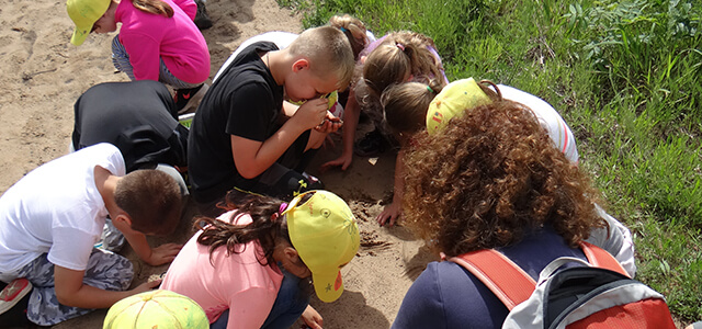 A group of elementary school students using magnifying glasses to look at the sand in the preserve.