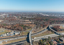 Aerial view of Albany Pine Bush and roads