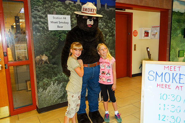Smokey Bear with kids