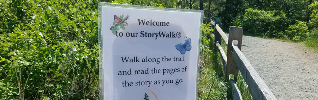 First page of a Story Walk posted along a trail